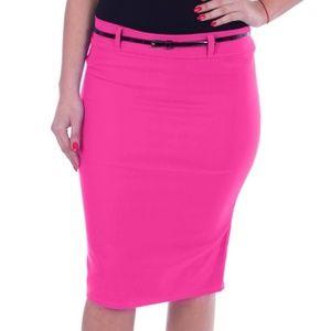 Woman Pencil Skirt with Belt, D-3018, Fuchsia